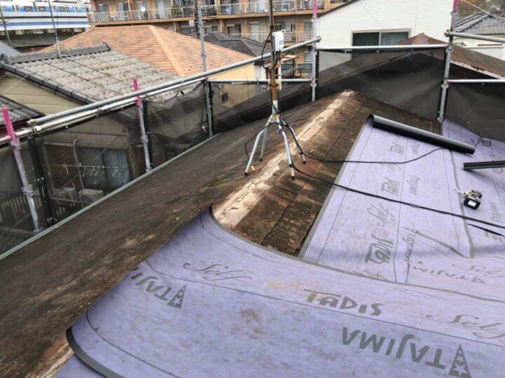 【屋根】ルーフィングシート張込み